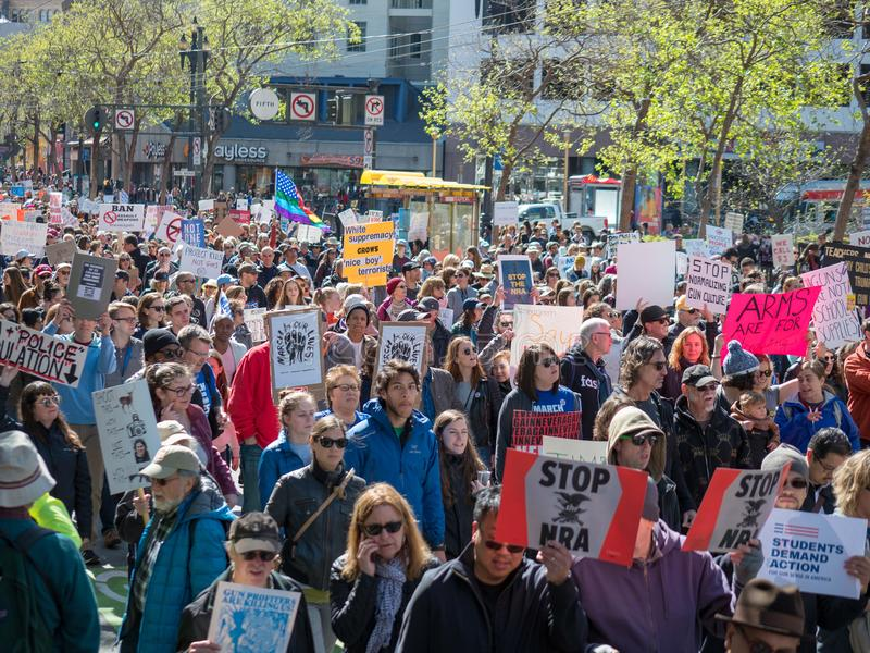 el Anti-arma y los manifestantes anti-NRA en marzo por nuestras vidas se reúnen en S foto de archivo libre de regalías