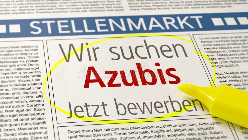 El anuncio del trabajo en un periódico - se pone de aprendiz querido - Wir suchen Azubis alemán imagenes de archivo