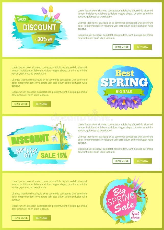 El anuncio grande de la venta de la primavera estupenda etiqueta las flores stock de ilustración