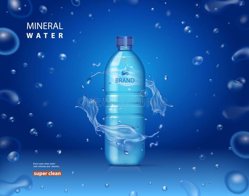 El anuncio mineral de consumición de la botella de agua en fondo azul con chispear brillante cae Ejemplo realista del vector 3D ilustración del vector