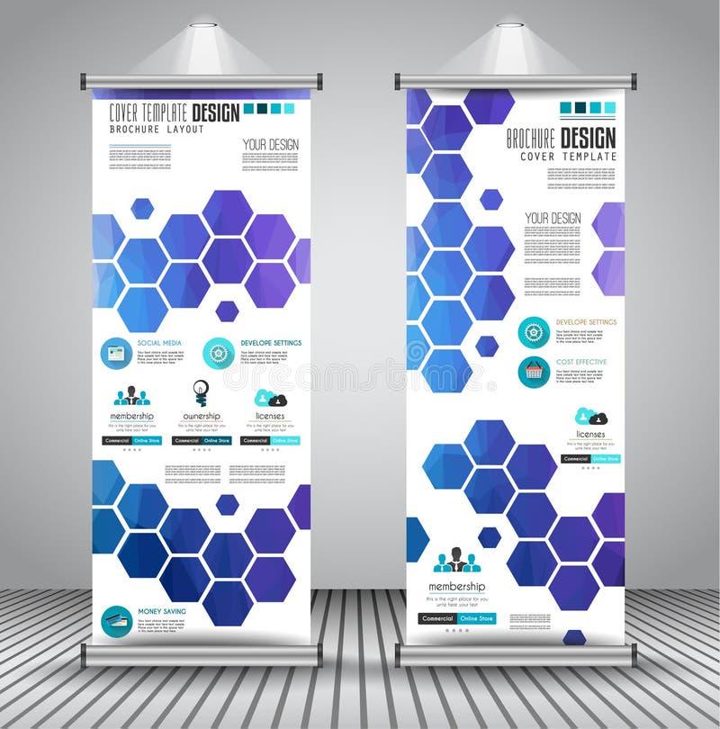 El anuncio rueda para arriba la bandera del aviador o del folleto del negocio con diseño vertical stock de ilustración