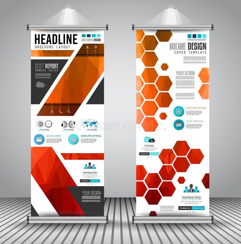 El anuncio rueda para arriba la bandera del aviador o del folleto del negocio con diseño vertical ilustración del vector