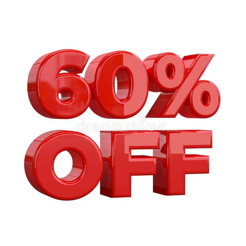 el 60% apagado en el fondo blanco, oferta especial, gran oferta, venta el sesenta y cinco por ciento de la bandera publicitaria p ilustración del vector