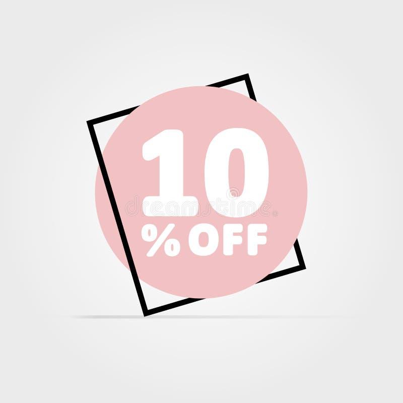 el 10% apagado Gráfico de vector del descuento Círculo rosado en marco negro stock de ilustración