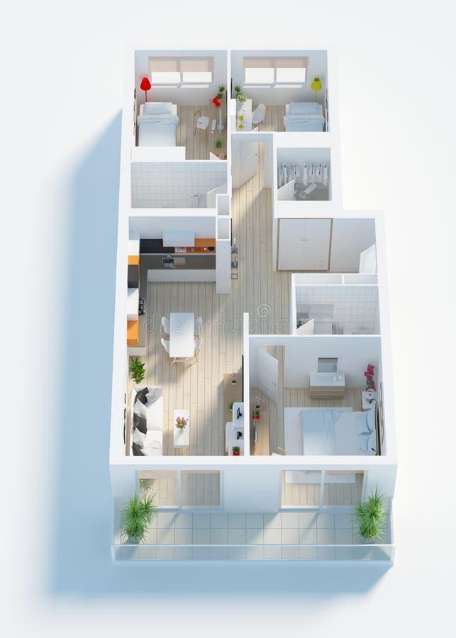 El apartamento casero equipado 3d rinde ilustración del vector