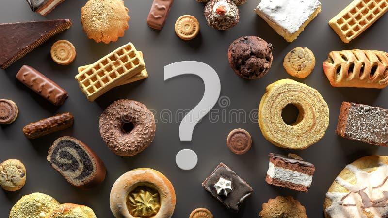 El apego de Sugar Food, concepto de dieta con la muestra 3d del signo de interrogación rinde fotos de archivo libres de regalías