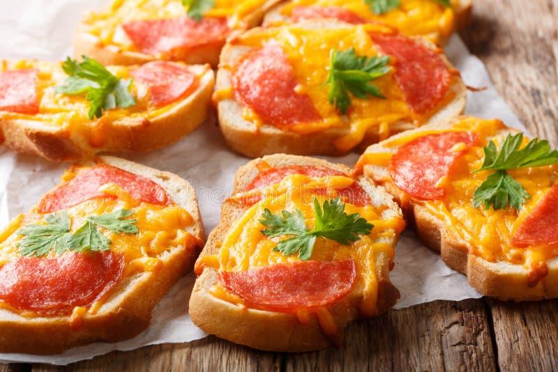 El aperitivo delicioso tuesta con la salchicha del salami y el primer derretido del queso cheddar horizontal fotos de archivo