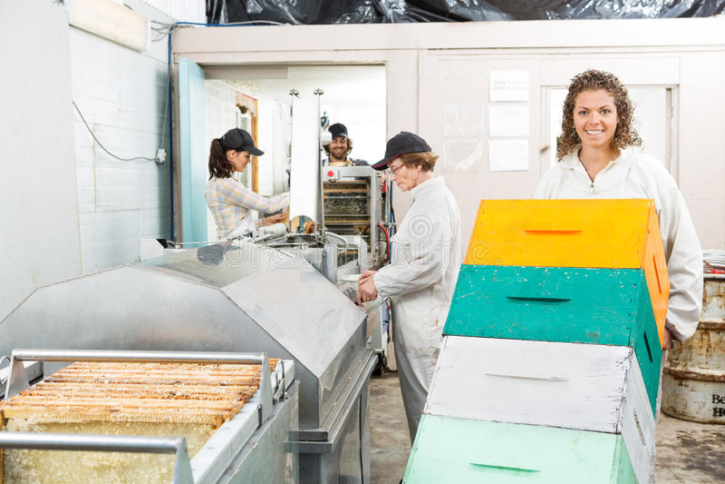 El apicultor de sexo femenino Holding Trolley Of apiló imagen de archivo