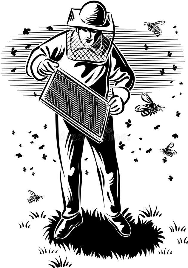 El apicultor toma cuidado de su colmena stock de ilustración