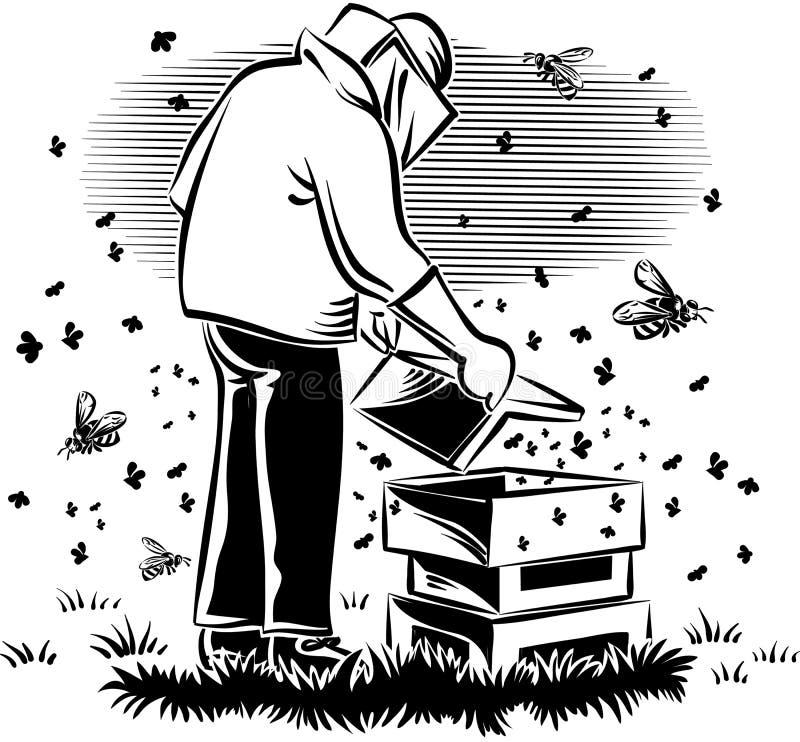 El apicultor toma cuidado de su colmena ilustración del vector