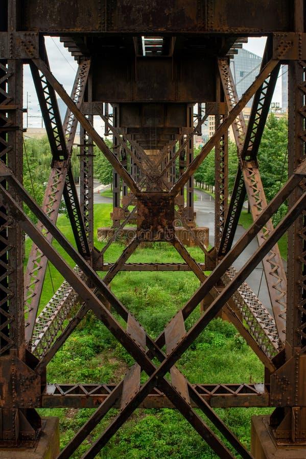 El apoyar estructural de las vías elevadas del tren fotografía de archivo