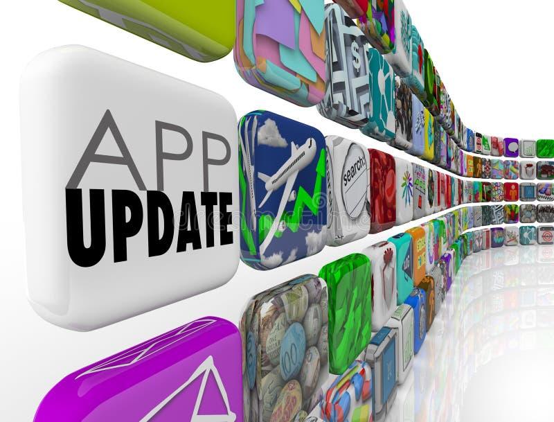 El App pone al día la actualización de software Patc de los programas de aplicación de las tejas 3d ilustración del vector