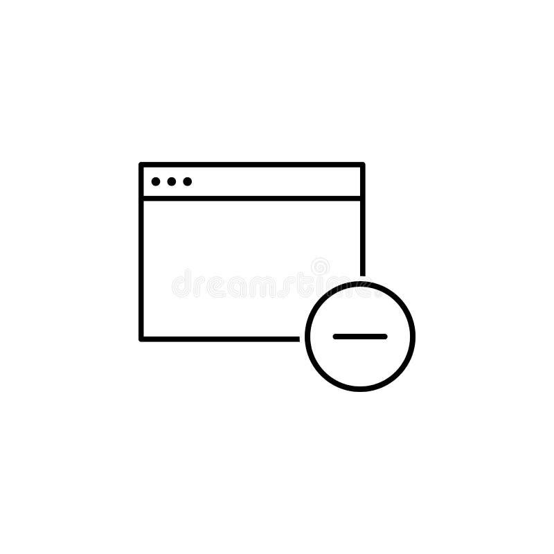 El App quita el icono del esquema de la ventana Las muestras y los símbolos se pueden utilizar para la web, logotipo, app móvil,  stock de ilustración