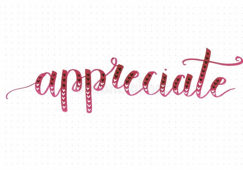 El ` aprecia frase de motivación de las letras de la mano del ` en la escritura de Borgoña con pocos corazones del garabato libre illustration