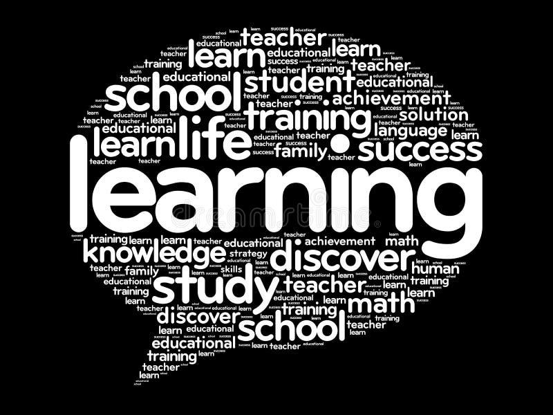 El aprendizaje piensa la nube de la palabra de la burbuja ilustración del vector