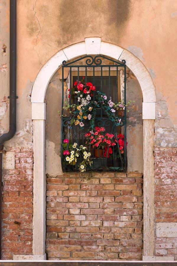 El arco antiguo construyó una ventana con las flores fotos de archivo