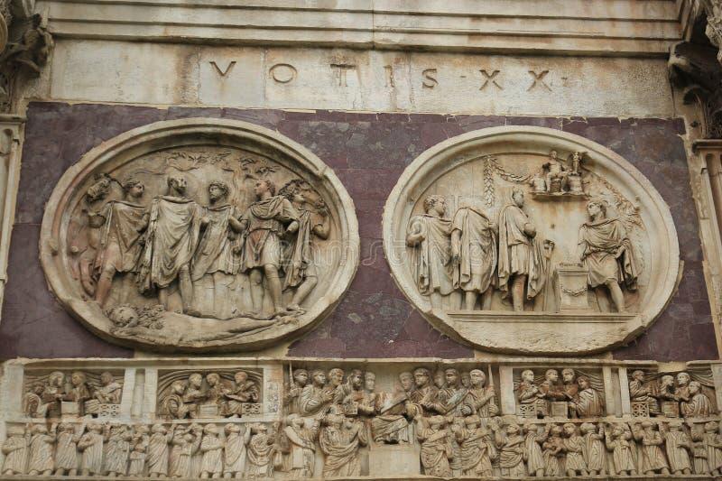 El arco de Constantina - detalle, Roma, Italia fotografía de archivo libre de regalías