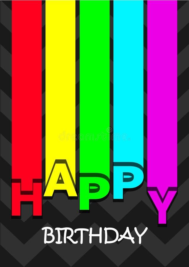 El arco iris alinea la tarjeta del feliz cumpleaños, líneas coloridas y letras en el fondo oscuro, vector vertical ilustración del vector