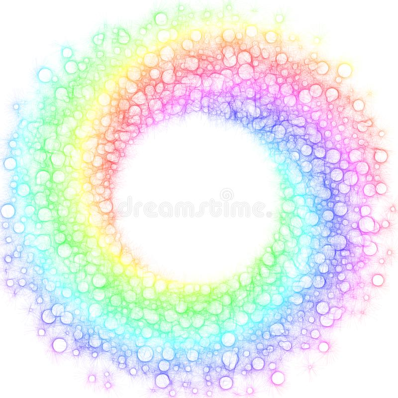 El arco iris burbujea marco circular espiral ilustración del vector