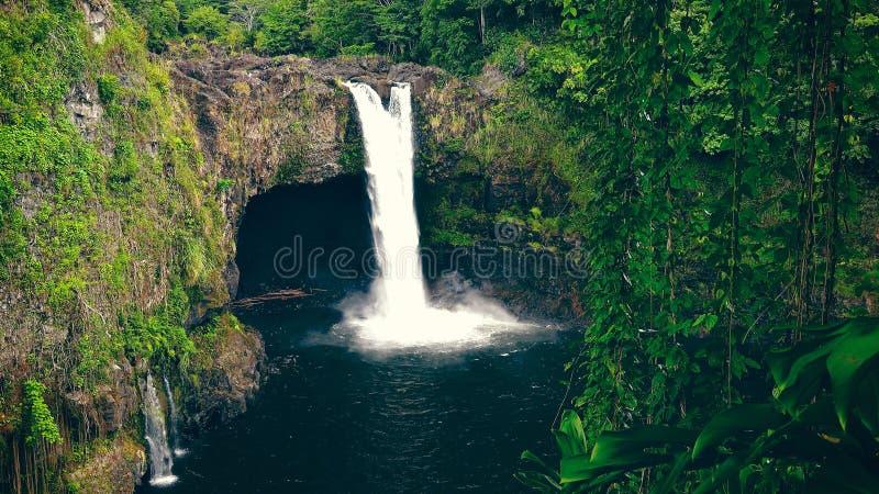 El arco iris cae en Hilo en la isla grande de Hawaii foto de archivo libre de regalías
