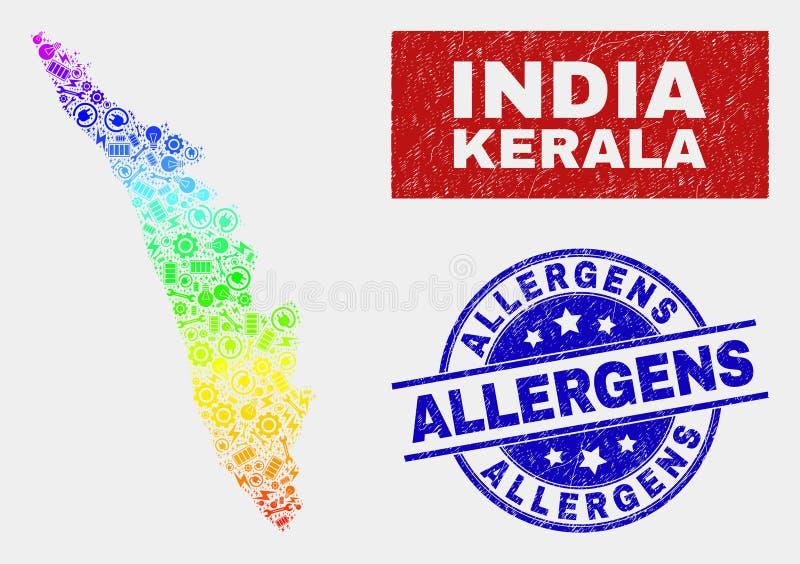 El arco iris coloreó el mapa componente del estado de Kerala y los sellos rasguñados de los alergénicos libre illustration