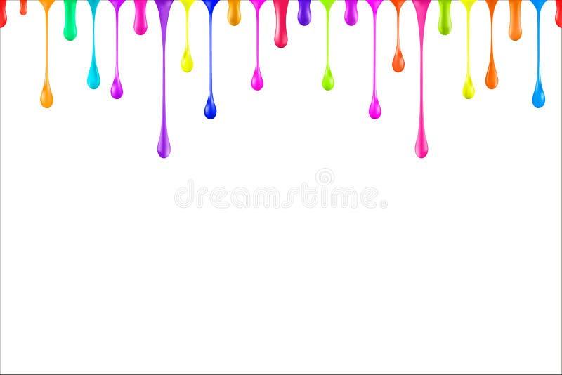 El arco iris colorea descensos brillantes de la pintura de aceite en blanco ilustración del vector