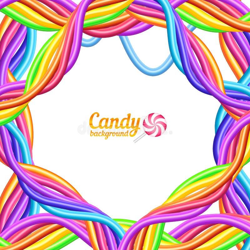 El arco iris colorea el fondo del vector de las cuerdas del caramelo stock de ilustración