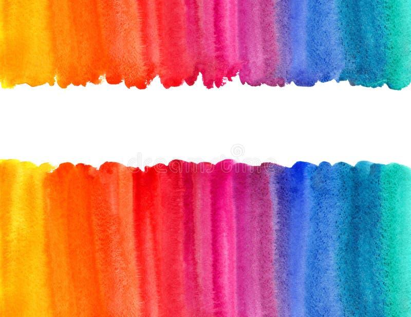 El arco iris colorea la frontera o el marco horizontal de la acuarela ilustración del vector