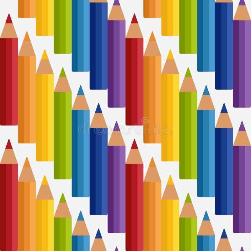 El arco iris coloreado dibujó a lápiz el modelo inconsútil libre illustration