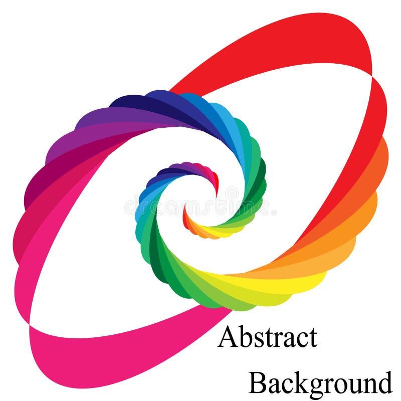 El arco iris coloreado tuerce en espiral convergiendo al centro Elemento elíptico del diseño ilustración del vector