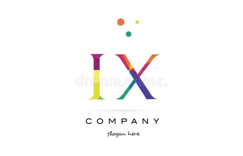 el arco iris creativo de IX i x colorea el icono del logotipo de la letra del alfabeto ilustración del vector