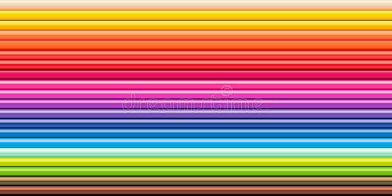 El arco iris del espectro coloreado dibujó a lápiz la herramienta de dibujo de la fila fotografía de archivo libre de regalías