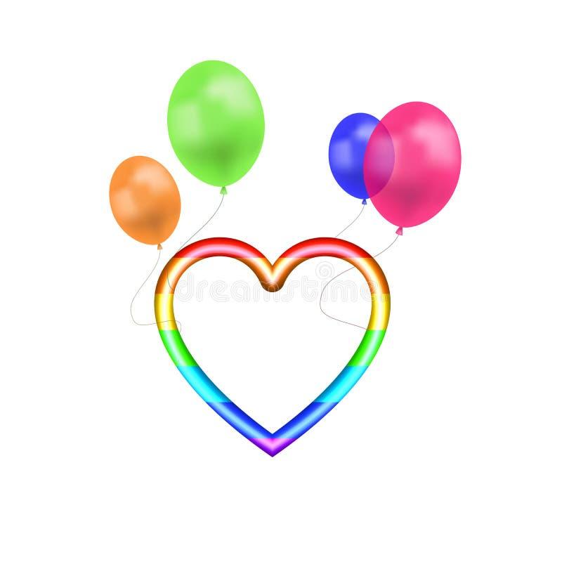 El arco iris del vector coloreó el vuelo de la forma del corazón en los globos coloridos aislados en el fondo blanco, colores bri libre illustration