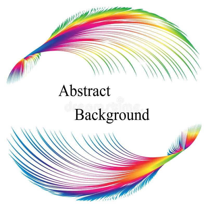 El arco iris empluma el modelo con el texto en el centro abstraiga el fondo Plantilla para las etiquetas, banderas, insignias, ca stock de ilustración