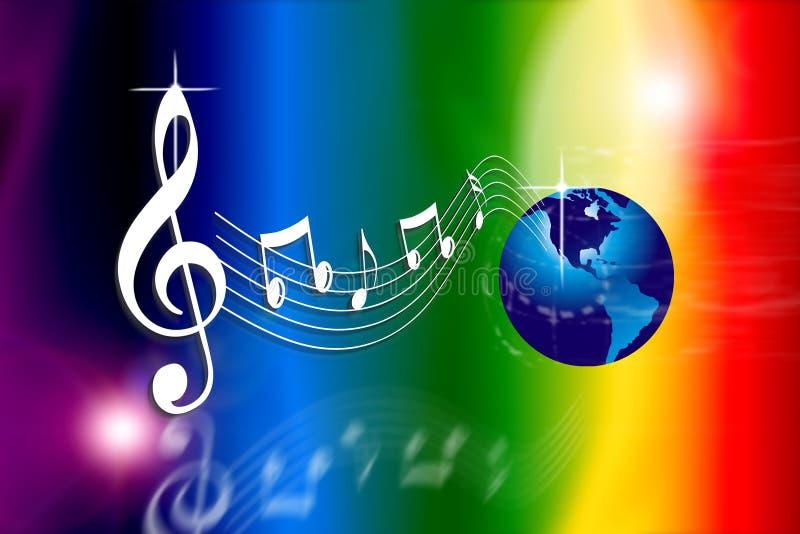 El arco iris hace el mundo de la música ilustración del vector