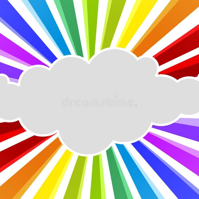 El arco iris irradia la tarjeta de felicitación de la nube stock de ilustración