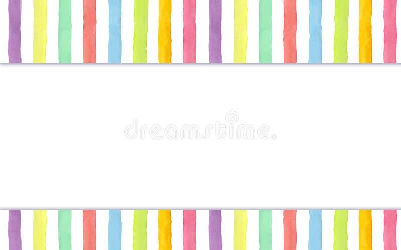 El arco iris pintado a mano de la acuarela raya el fondo - jefe y pie de página para su sitio stock de ilustración