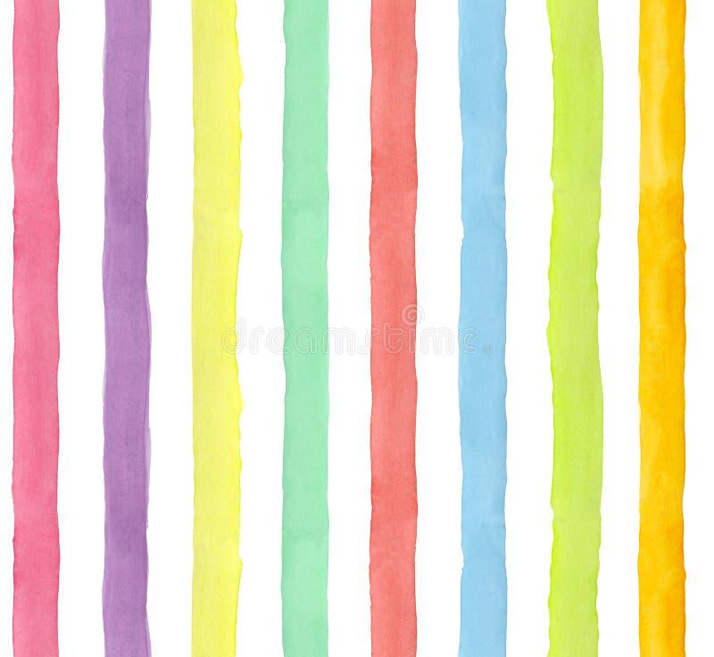 El arco iris pintado a mano de la acuarela raya el modelo inconsútil ilustración del vector