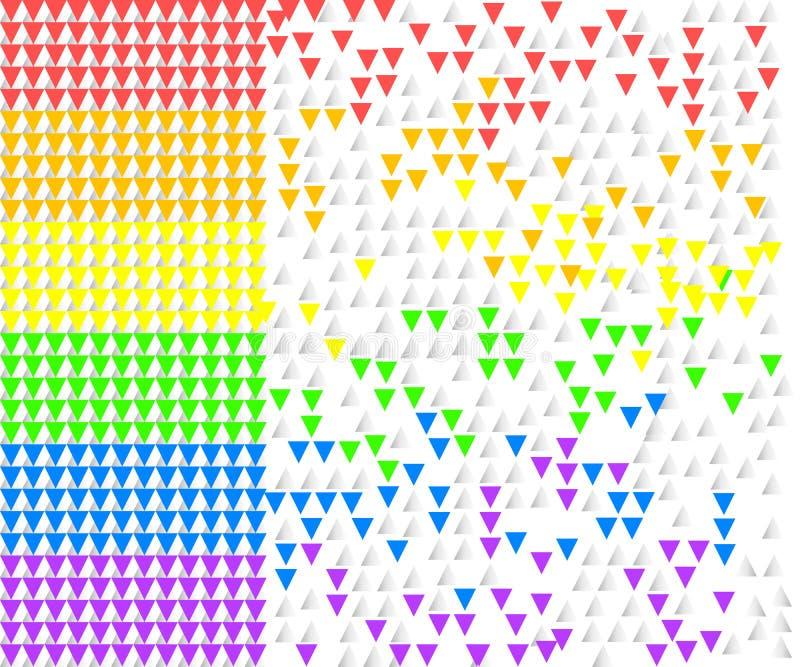 El arco iris rayó la forma de volar triángulos coloridos en el fondo blanco Vector la ilustración, EPS10 ilustración del vector