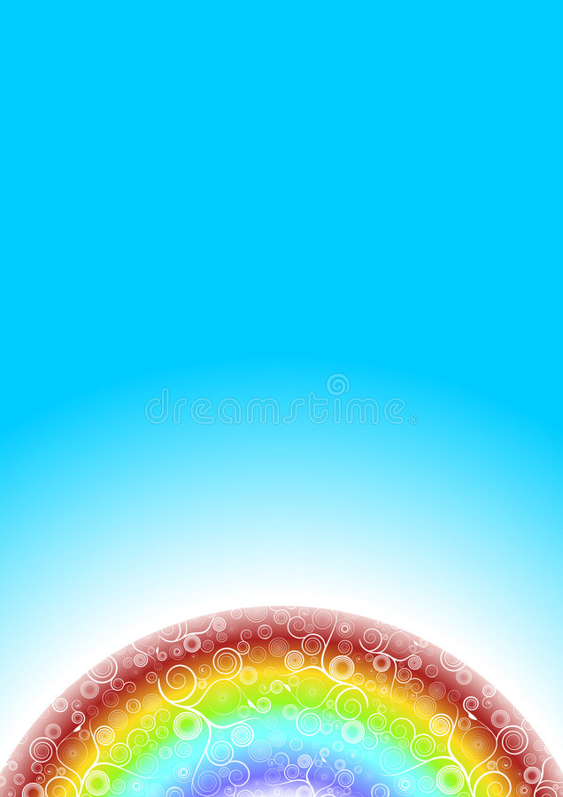 El arco iris tuerce en espiral planeta con el cielo azul stock de ilustración