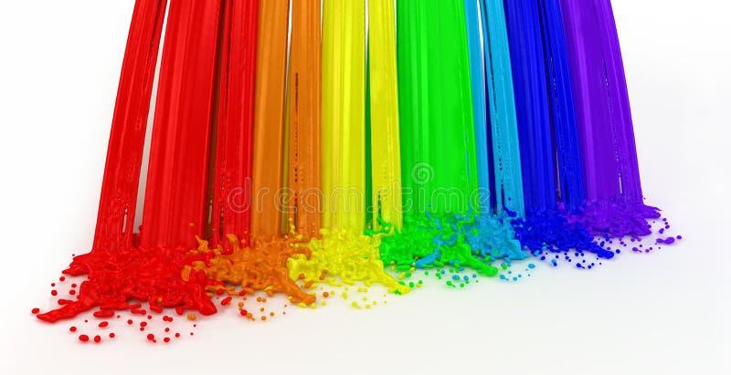 El arco iris y salpica hecho de la pintura. ilustración del vector