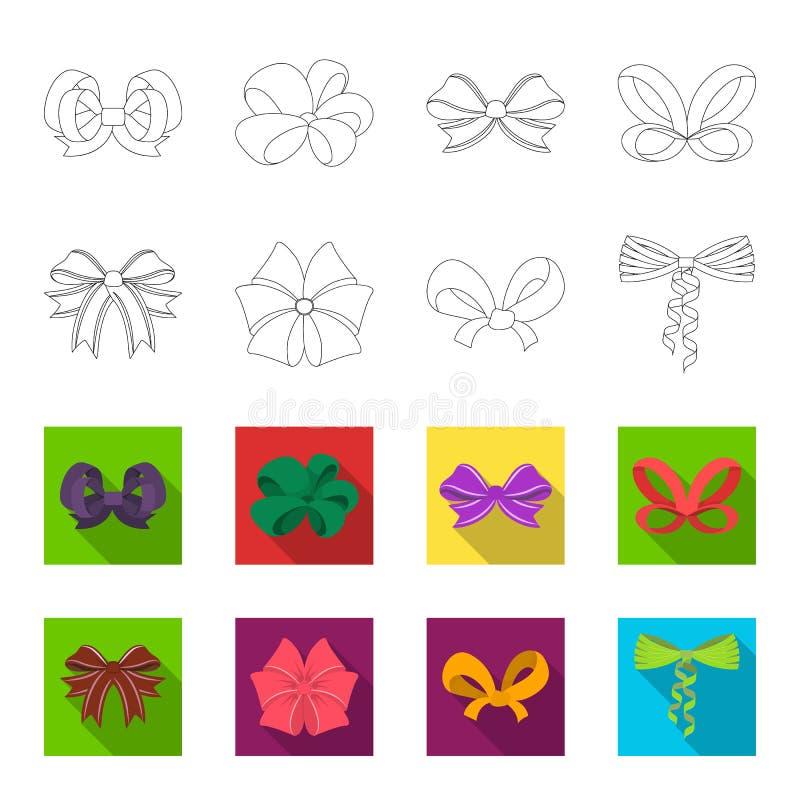 El arco, la cinta, la decoración, y el otro icono del web en el esquema, estilo plano Regalo, arcos, nodo, iconos en la colección stock de ilustración
