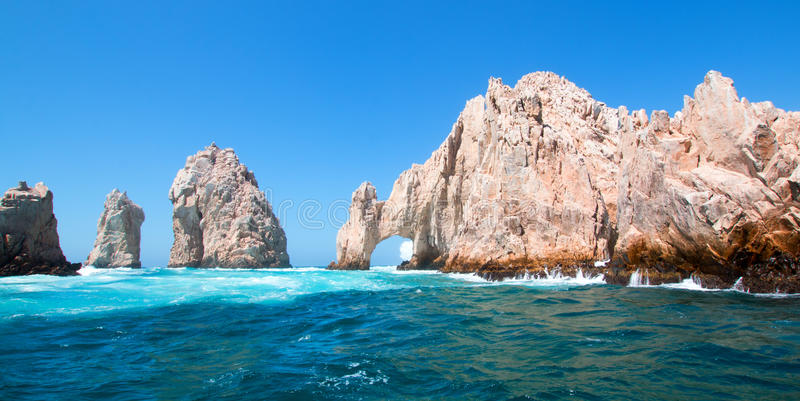 El Arco / Los Arcos the Arch at Lands End at Cabo San Lucas Baja Mexico royalty free stock photo
