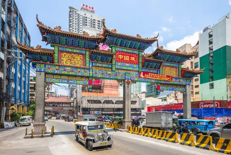 El arco m?s grande de Chinatown del mundo en Manila fotografía de archivo libre de regalías