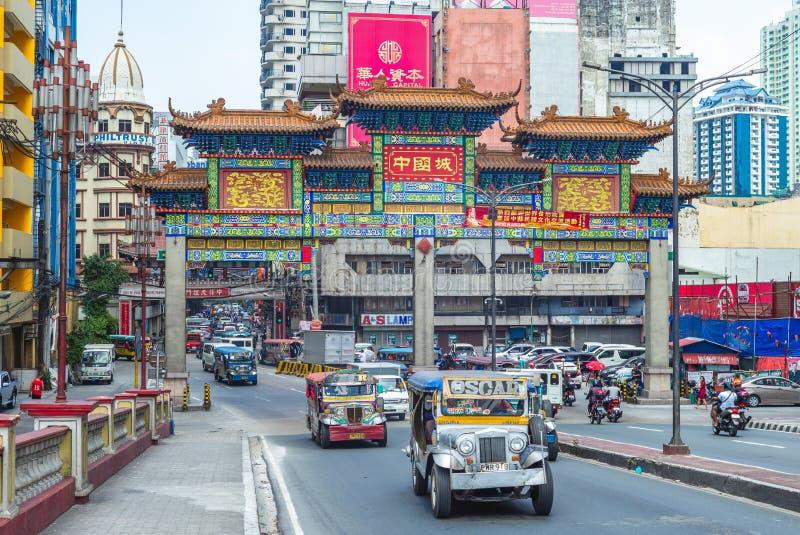 El arco m?s grande de Chinatown del mundo en Manila fotos de archivo libres de regalías