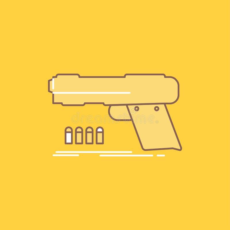 el arma, arma de mano, pistola, pistola, línea plana del arma llenó el icono Bot?n hermoso del logotipo sobre el fondo amarillo p libre illustration