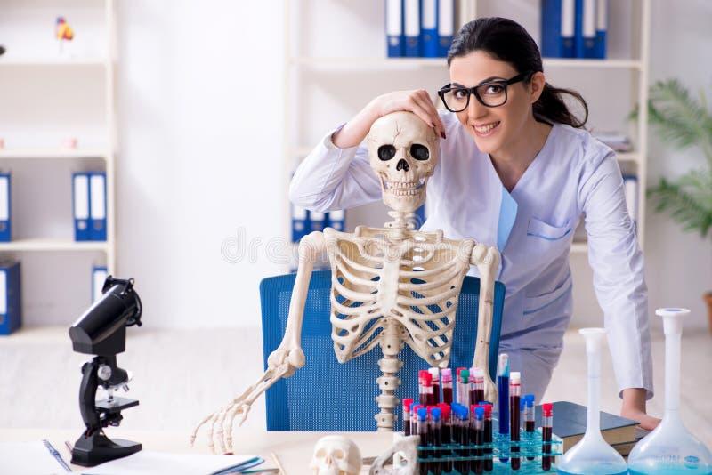 El arqueólogo de sexo femenino joven que trabaja en el laboratorio imagen de archivo