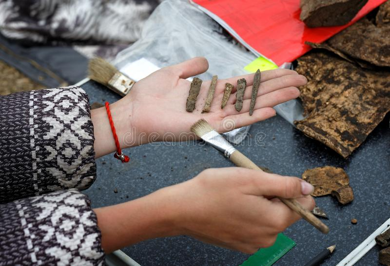 El arqueólogo sostiene en su mano varias diversas puntas de flecha antiguas fotos de archivo libres de regalías