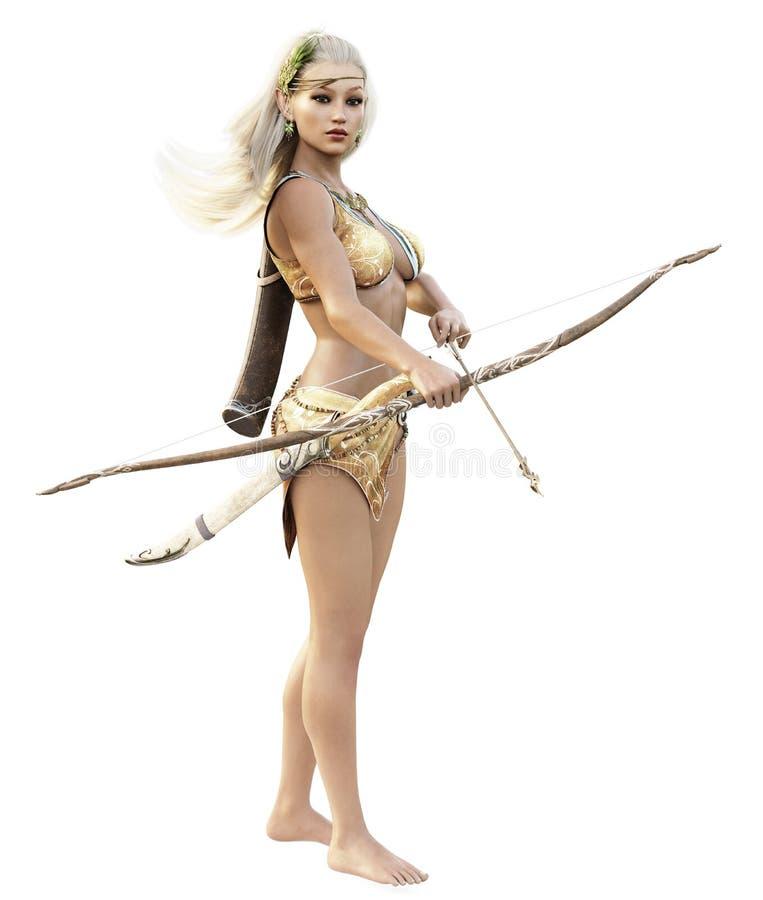 El arquero de madera de sexo femenino rubio del duende de la fantasía con la situación del arco y de la flecha guarda en un fondo ilustración del vector