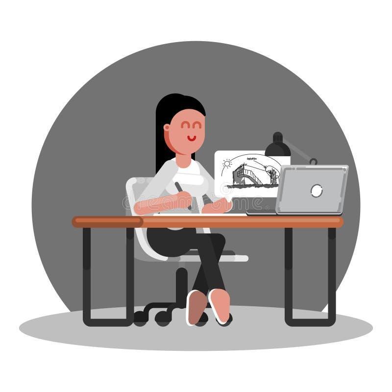 El arquitecto de la mujer dibuja ilustración del vector